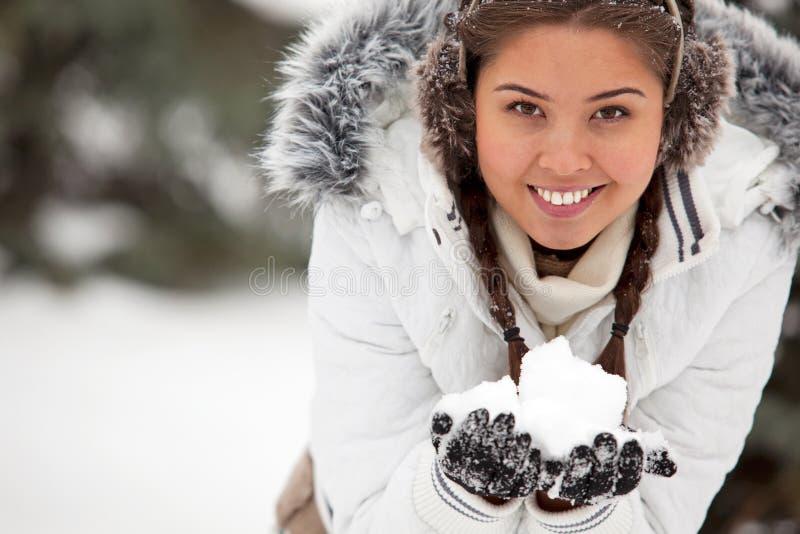 Muchacha con nieve imágenes de archivo libres de regalías