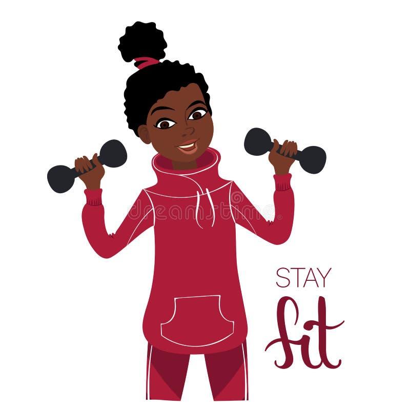 Muchacha con pesas de gimnasia stock de ilustración