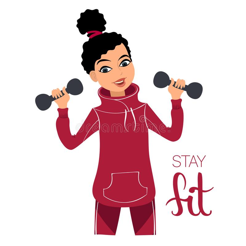 Muchacha con pesas de gimnasia libre illustration