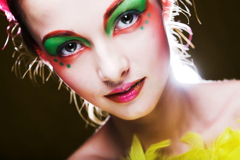 Muchacha con rostro creativo foto de archivo libre de regalías