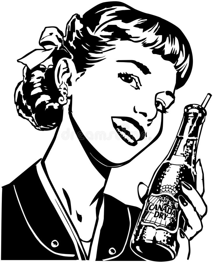 Muchacha con soda stock de ilustración