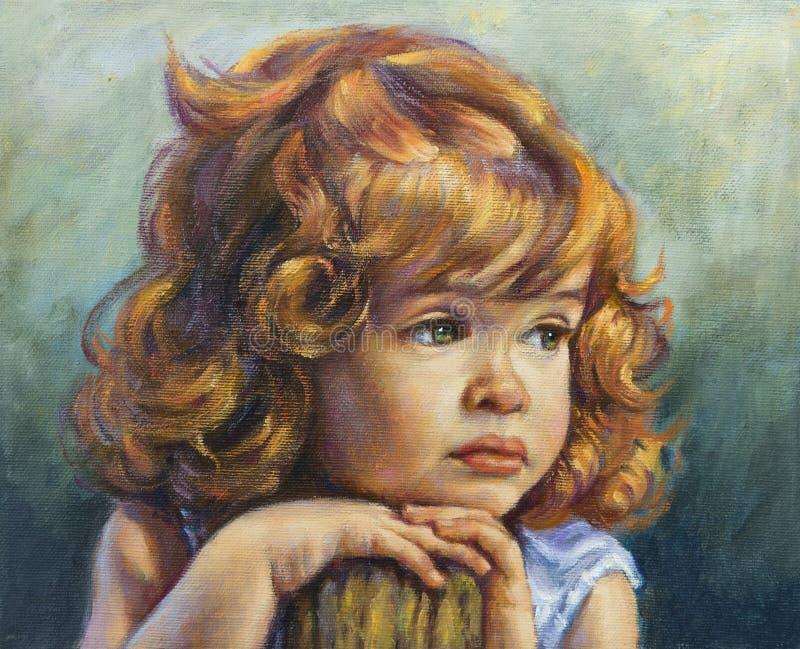 Muchacha con sus manos en sus mejillas stock de ilustración