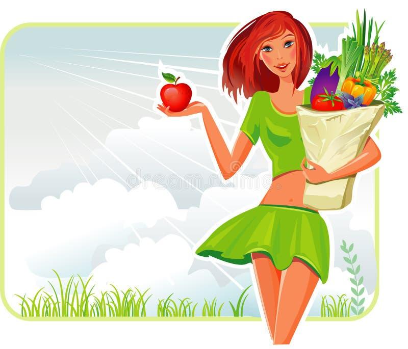 Muchacha con un bolso de compras ilustración del vector
