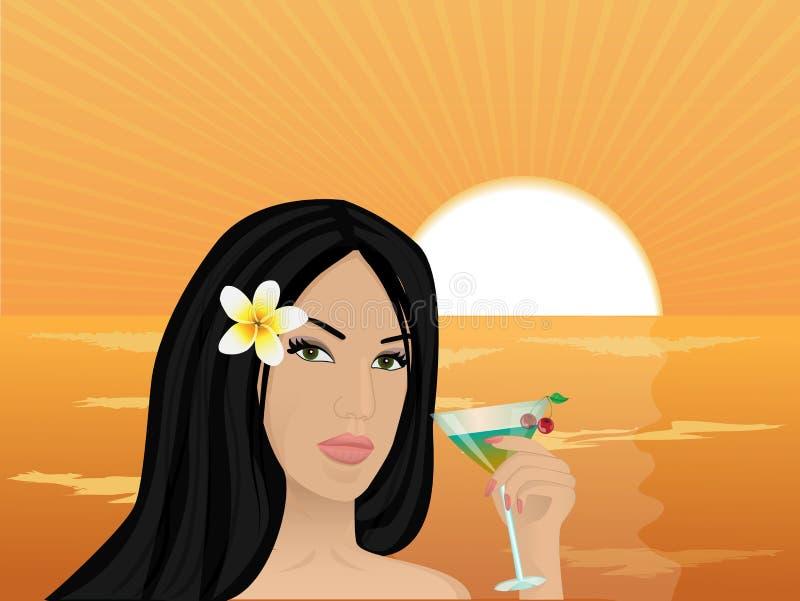 Muchacha con un cóctel en la puesta del sol stock de ilustración