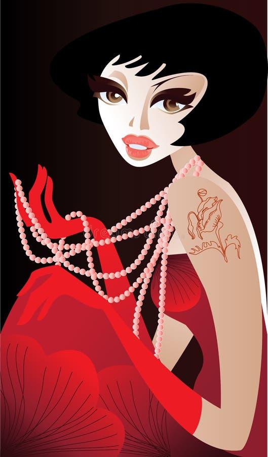 Muchacha con un collar de la perla ilustración del vector