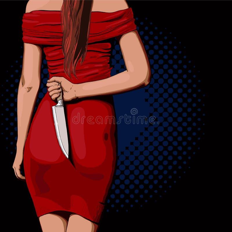 Muchacha con un cuchillo stock de ilustración