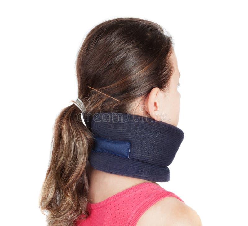 Muchacha con un cuello del osteochondrosis a prevenir y p fotografía de archivo