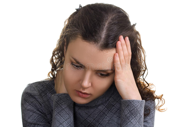 Muchacha con un dolor de cabeza foto de archivo libre de regalías