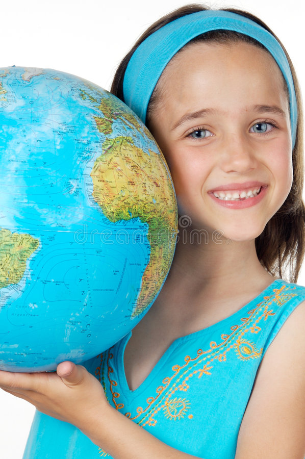 Muchacha con un globo del mundo fotos de archivo libres de regalías