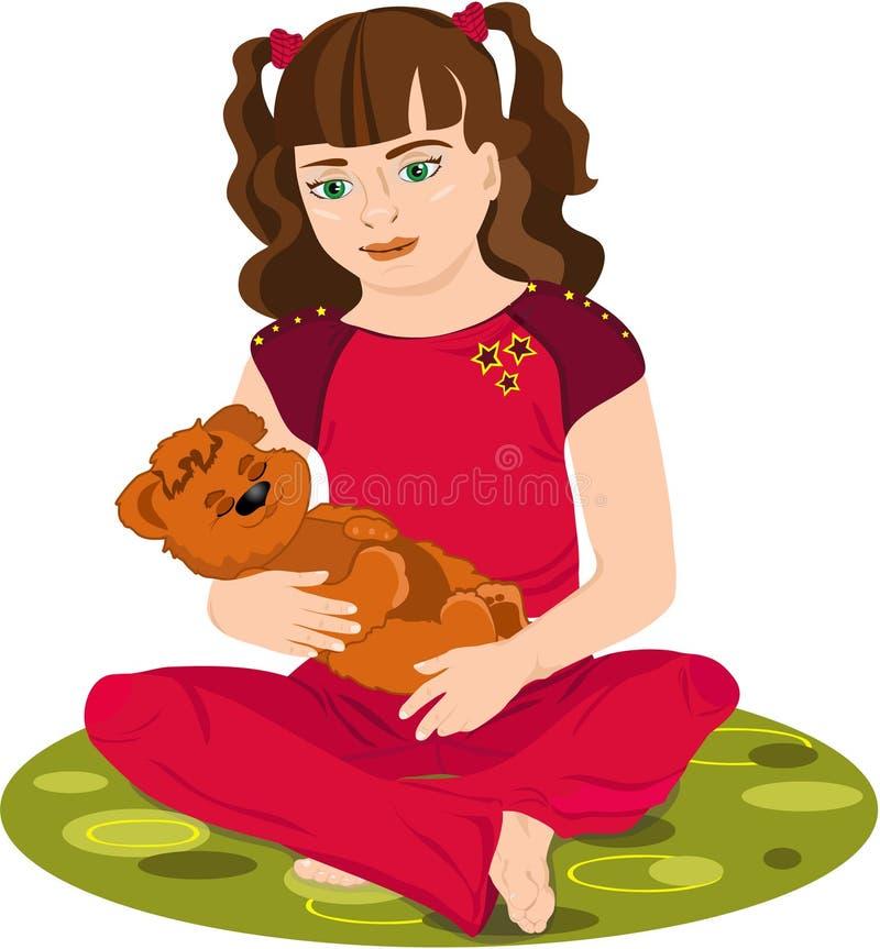 muchacha con un juguete stock de ilustración