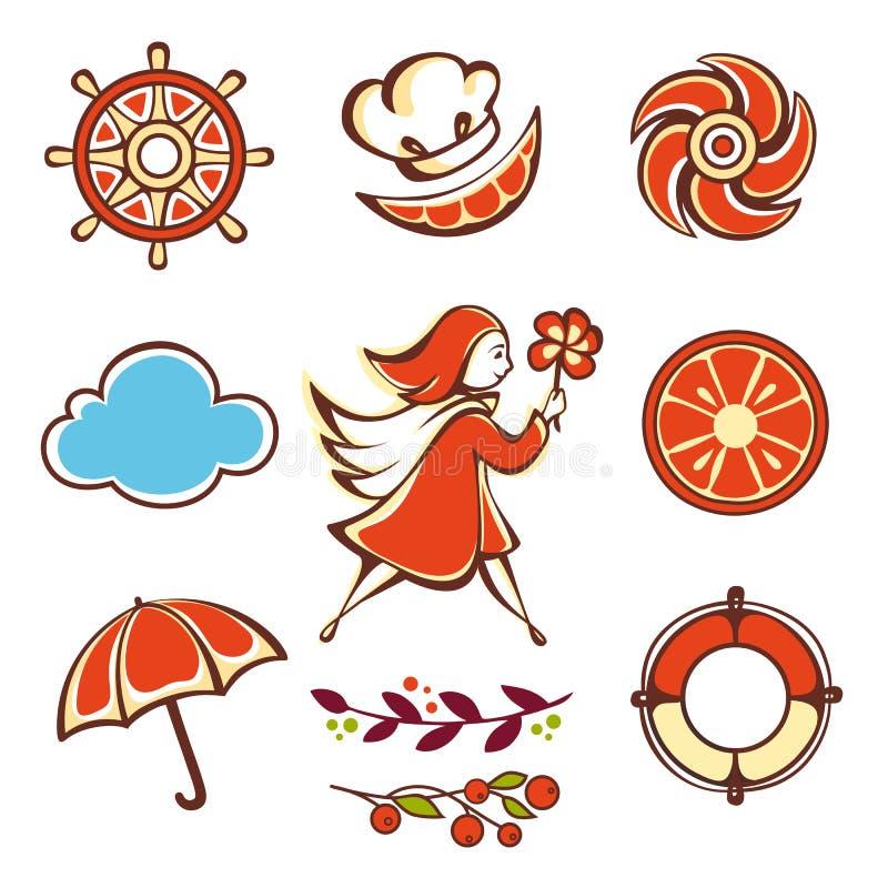 Muchacha con un paraguas anaranjado ilustración del vector