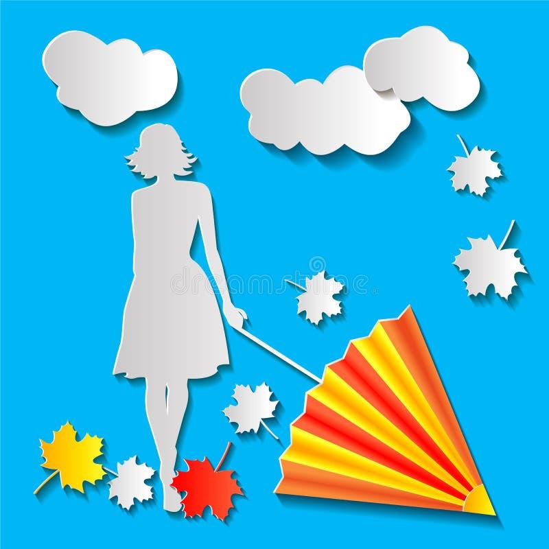 Muchacha con un paraguas en otoño ilustración del vector