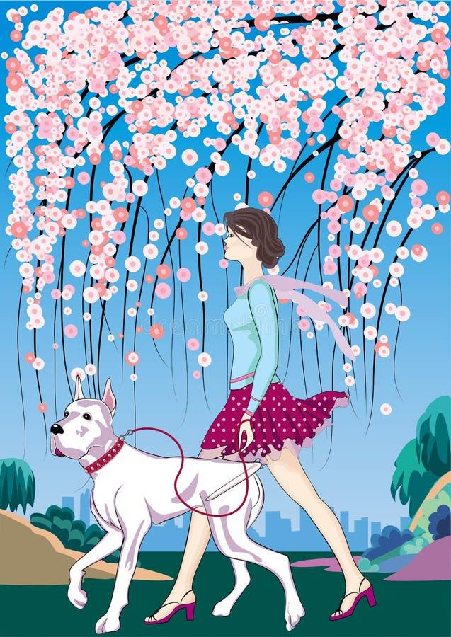 Muchacha con un perro libre illustration