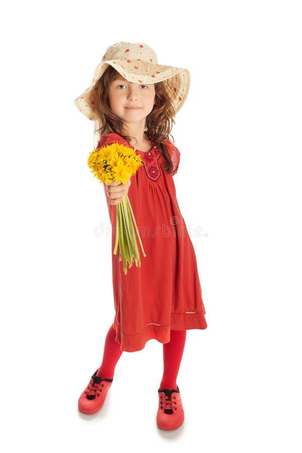 Muchacha con un ramo de flores imágenes de archivo libres de regalías