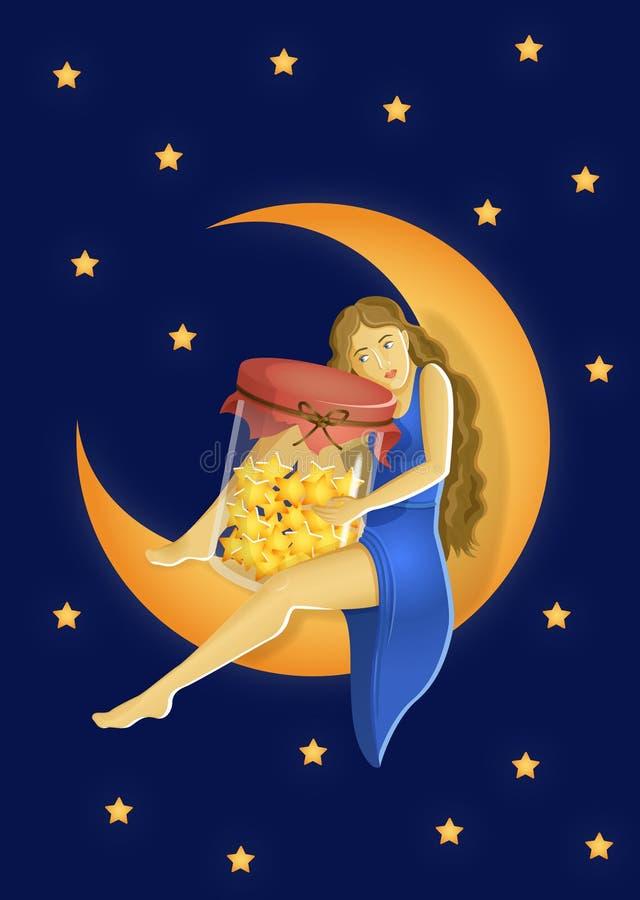 Muchacha con un tarro en la luna stock de ilustración