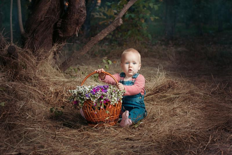 Muchacha con una cesta fotografía de archivo