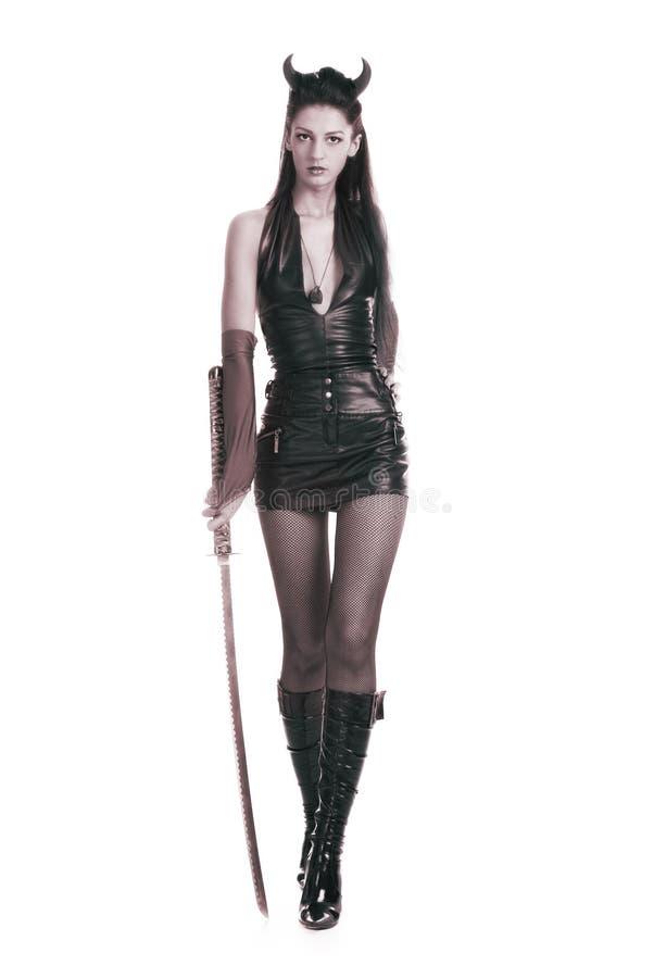 Muchacha con una espada foto de archivo libre de regalías