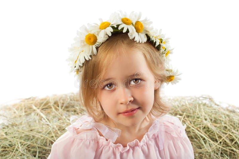 Muchacha con una guirnalda de margaritas fotos de archivo libres de regalías