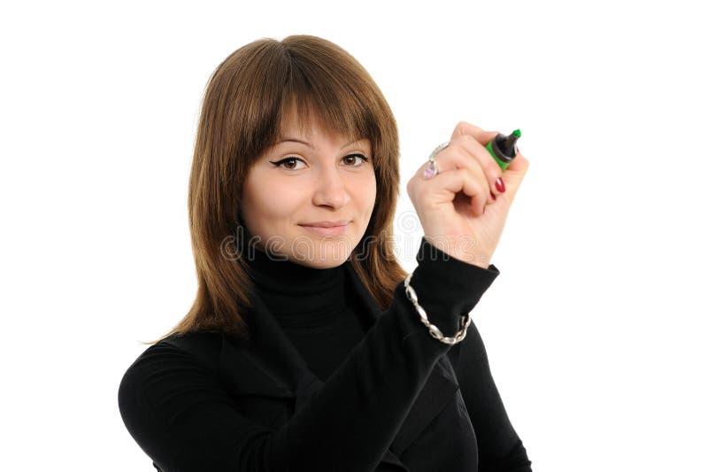 Muchacha con una pluma foto de archivo