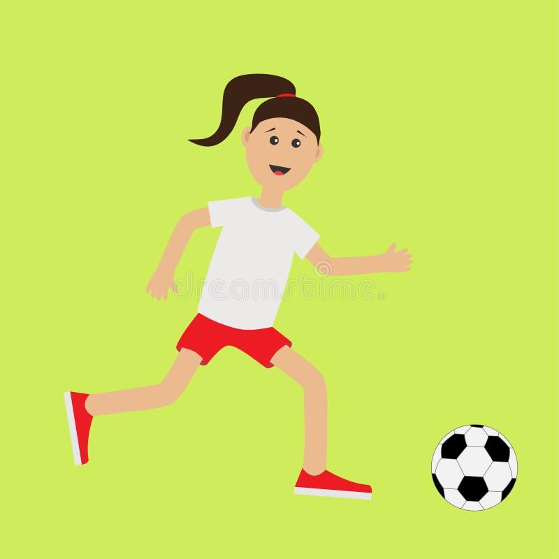 Muchacha corriente de la historieta divertida con el balón de fútbol Futbolista Entrenamiento lindo de la aptitud del corredor de libre illustration
