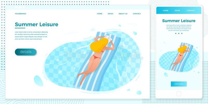 Muchacha cruzada del ejemplo de la plataforma del vector en piscina libre illustration