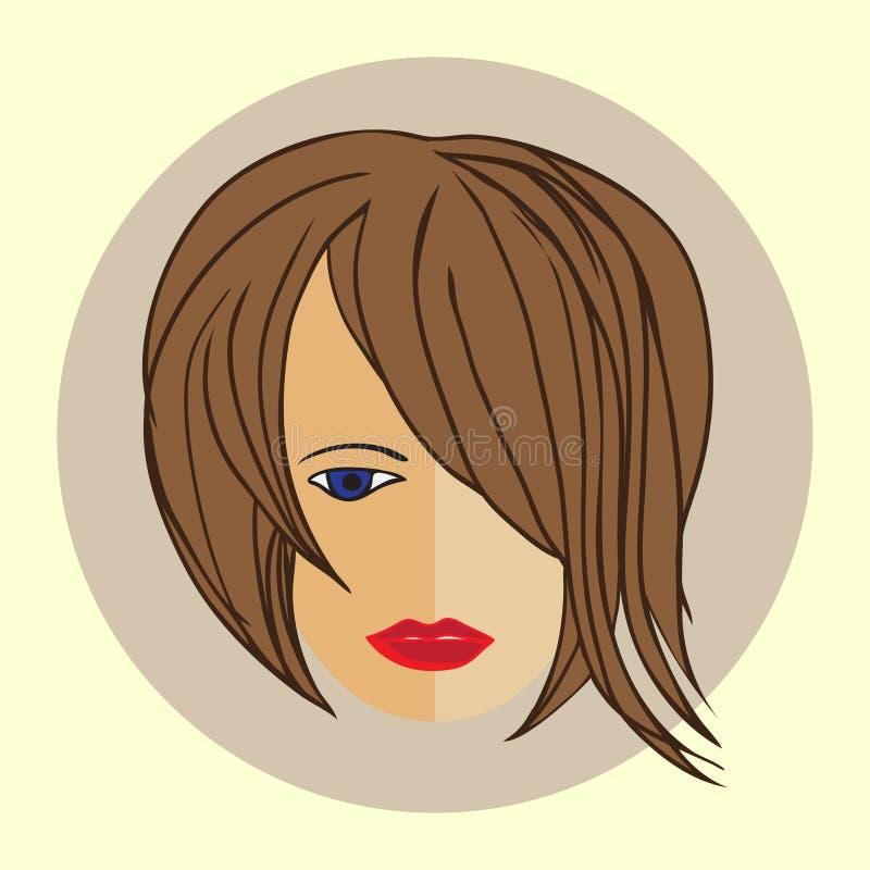 Muchacha de Avatar con el peinado moderno de moda, diseño plano stock de ilustración