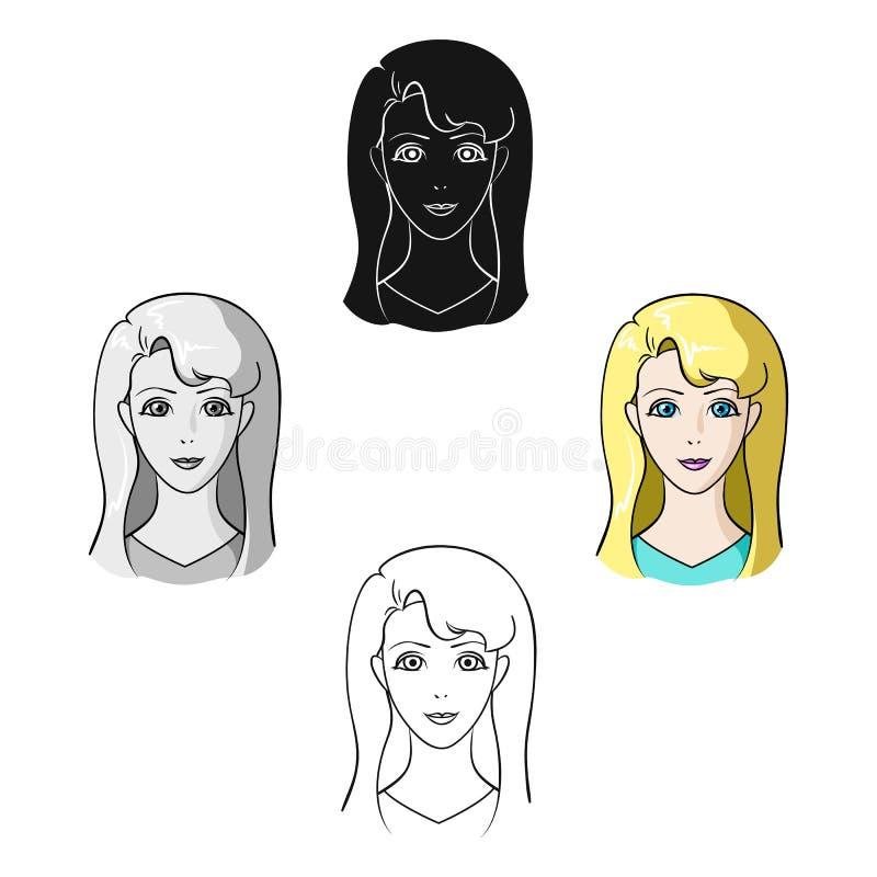 Muchacha de Avatar con el pelo blanco Avatar e icono de la cara solo en la historieta, ejemplo negro de la acci?n del s?mbolo del libre illustration