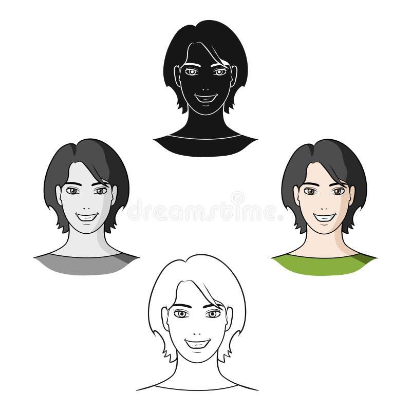 Muchacha de Avatar con el pelo corto Avatar e icono de la cara el solo en historieta diseñan el ejemplo de la acción del símbolo  libre illustration