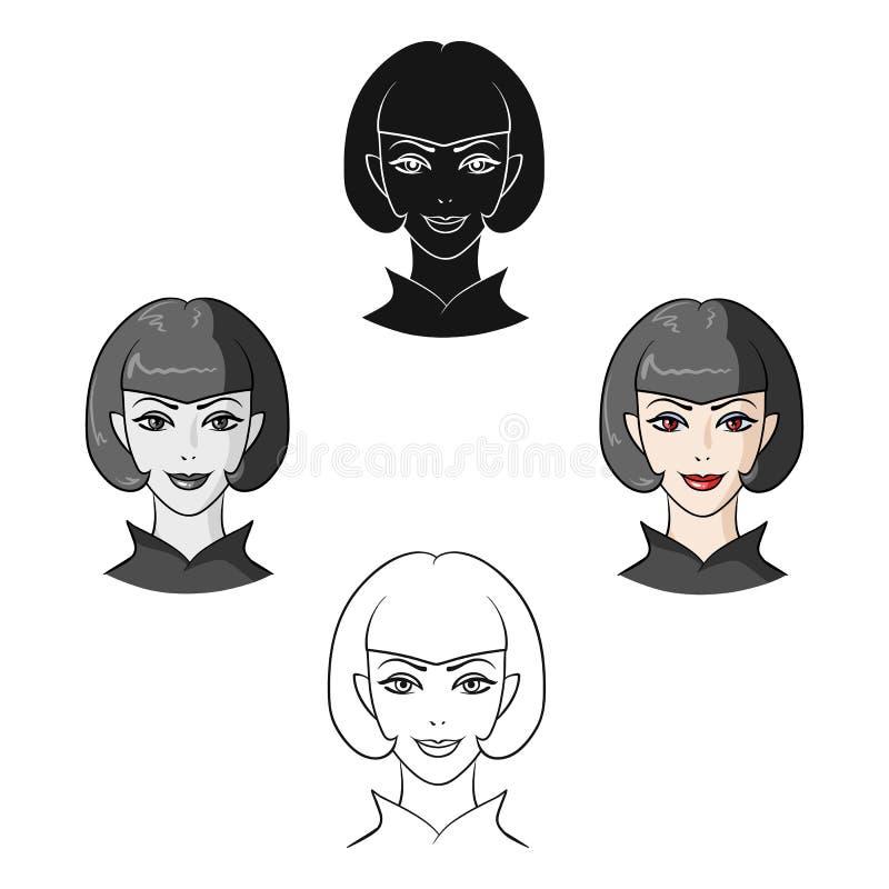 Muchacha de Avatar con el pelo corto Avatar e icono de la cara solo en la historieta, ejemplo negro de la acci?n del s?mbolo del  ilustración del vector