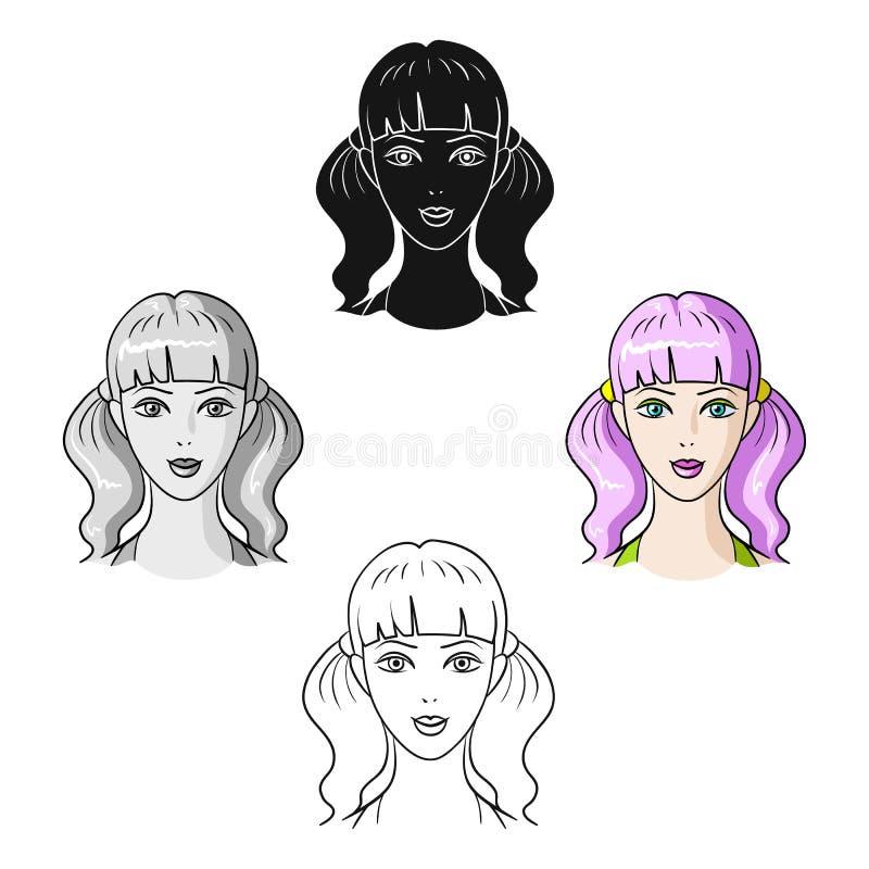 Muchacha de Avatar con el pelo rosado Avatar e icono de la cara solo en la historieta, ejemplo negro de la acci?n del s?mbolo del libre illustration