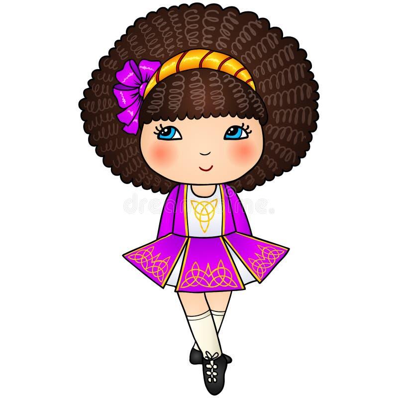 Muchacha de baile irlandesa en la alineada tradicional violeta ilustración del vector