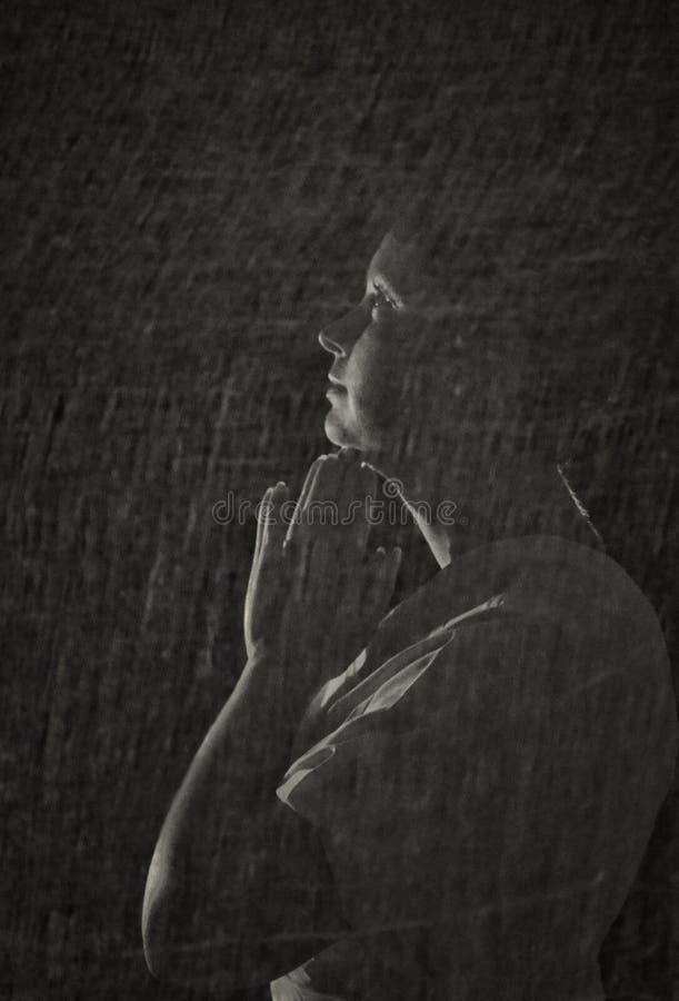 Muchacha de Bouring en blanco y negro fotos de archivo libres de regalías