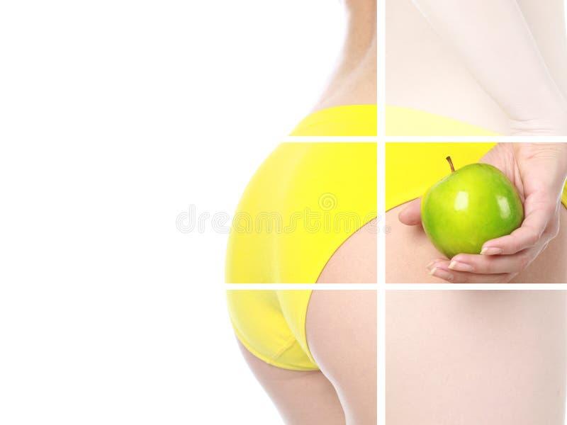 Muchacha de Collage.Beautiful con la manzana verde. imagen de archivo libre de regalías