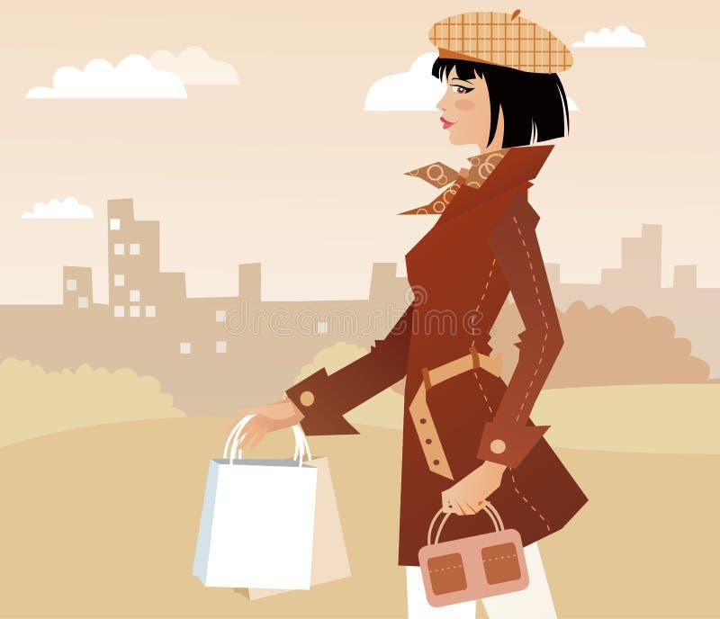 Muchacha de compras ilustración del vector