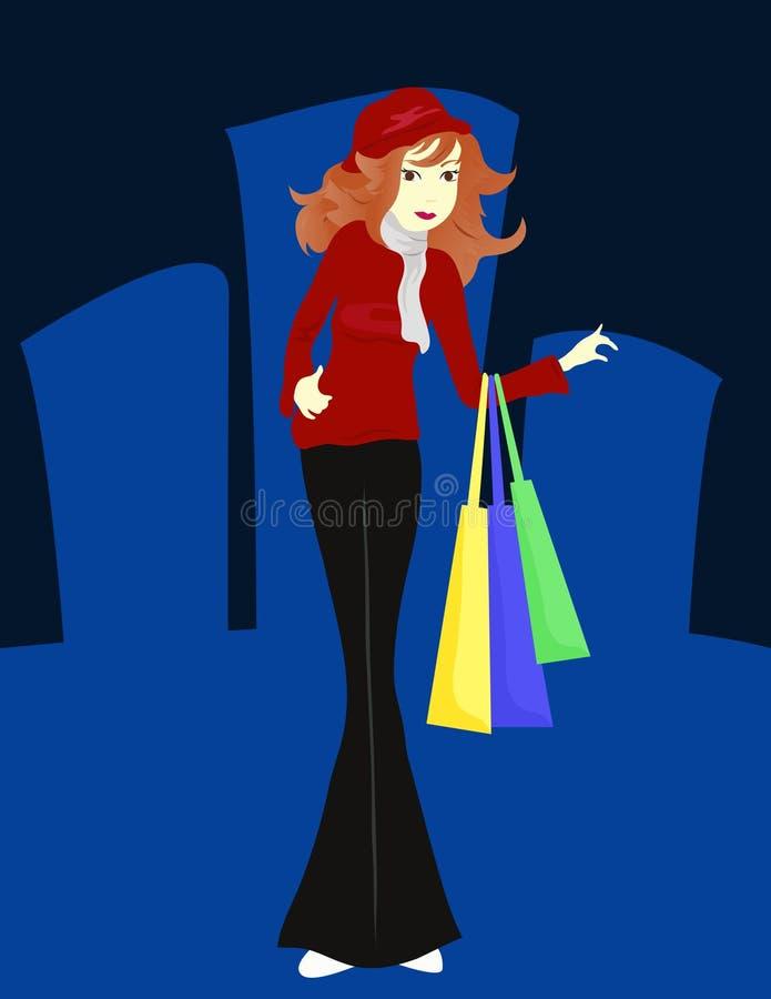 Download Muchacha de compras ilustración del vector. Ilustración de hermoso - 7276712