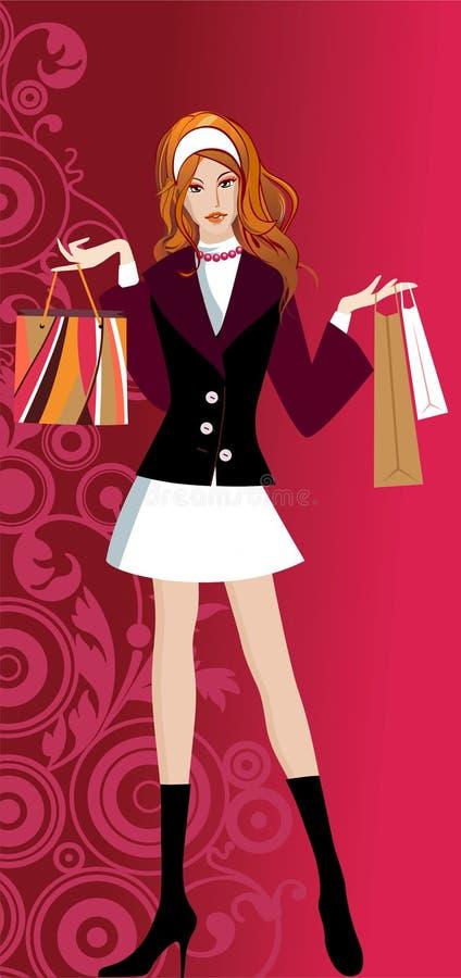 Muchacha de compras de Glam ilustración del vector