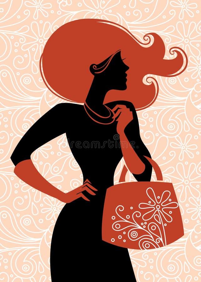 Muchacha de compras de la manera stock de ilustración