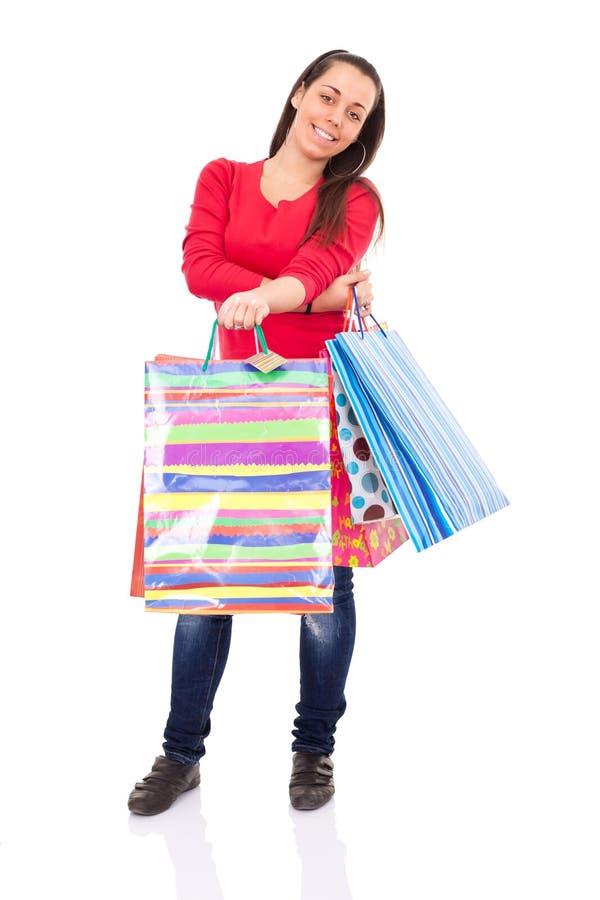 Muchacha de compras sonriente fotografía de archivo libre de regalías