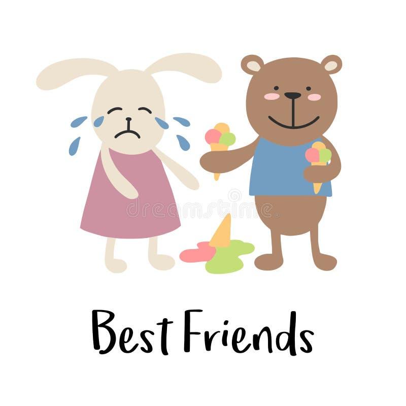 Muchacha de conejito gritadora con el muchacho sonriente del oso Tarjeta linda del ejemplo del vector de la historieta de los ami stock de ilustración
