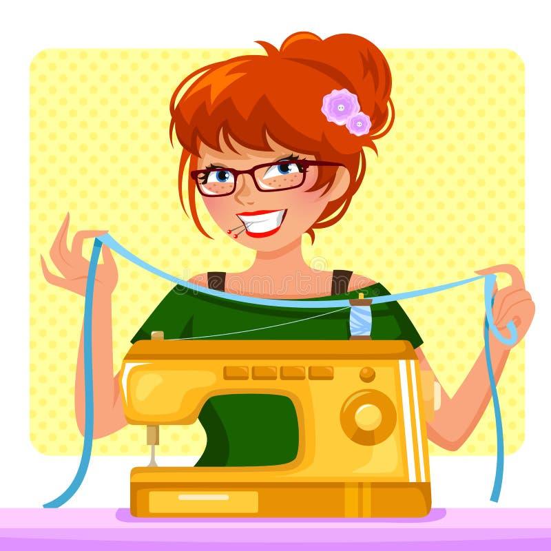 Muchacha de costura stock de ilustración