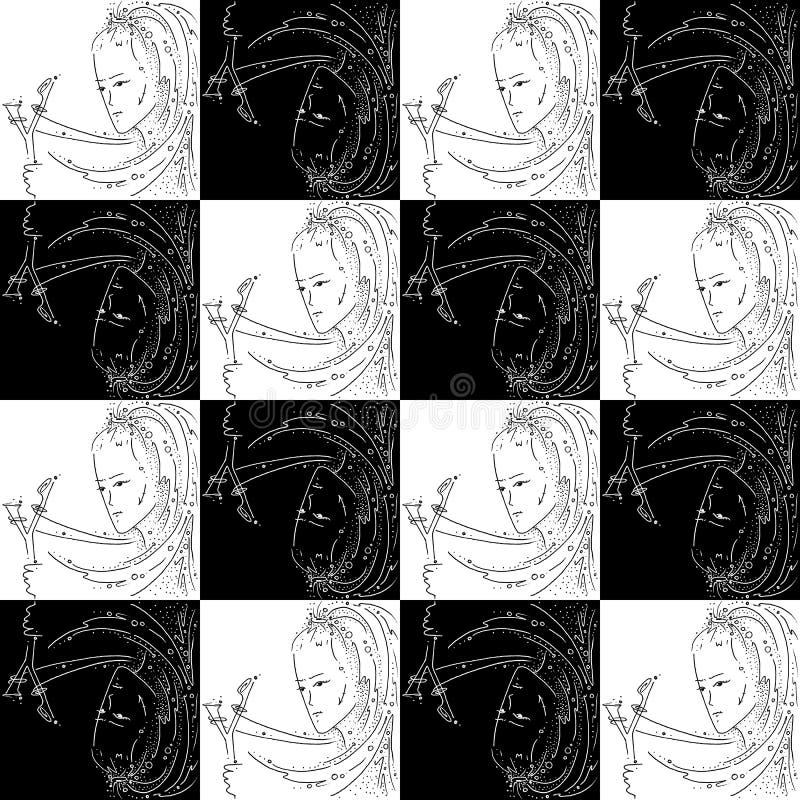 Muchacha de dibujo blanco y negro de la textura del zodiaco del sagitario inconsútil de la muestra con una catapulta stock de ilustración