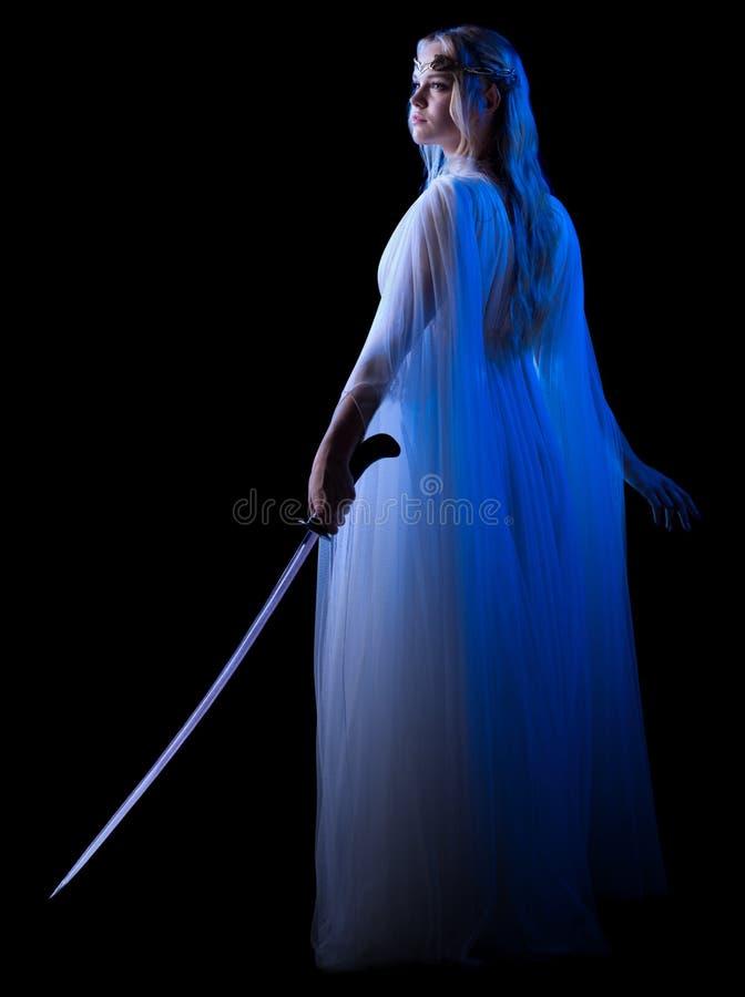Muchacha de Elven con la espada fotos de archivo