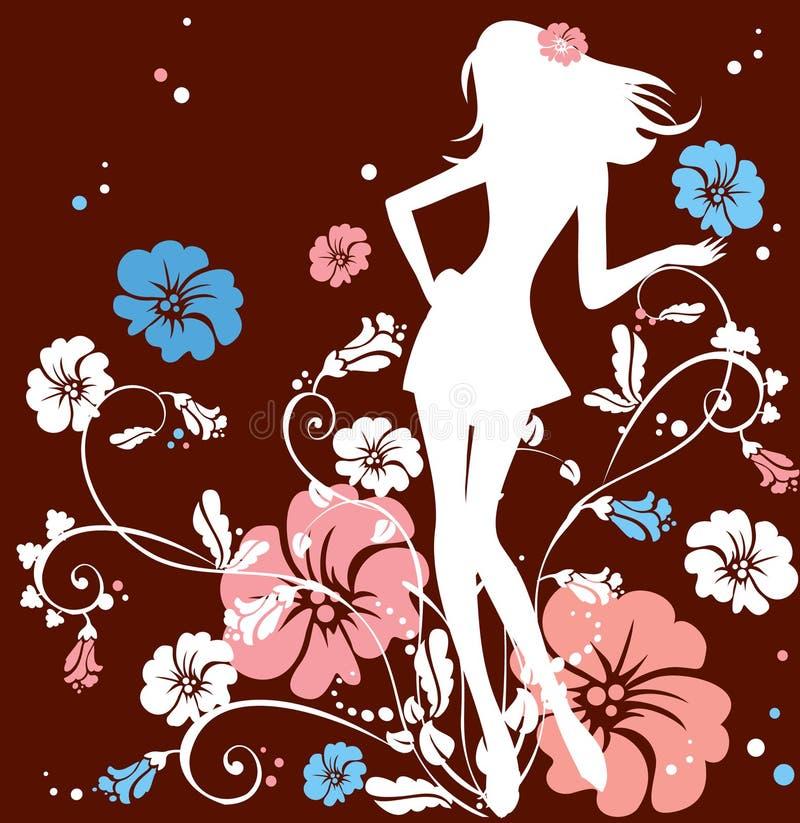 Muchacha de flor stock de ilustración