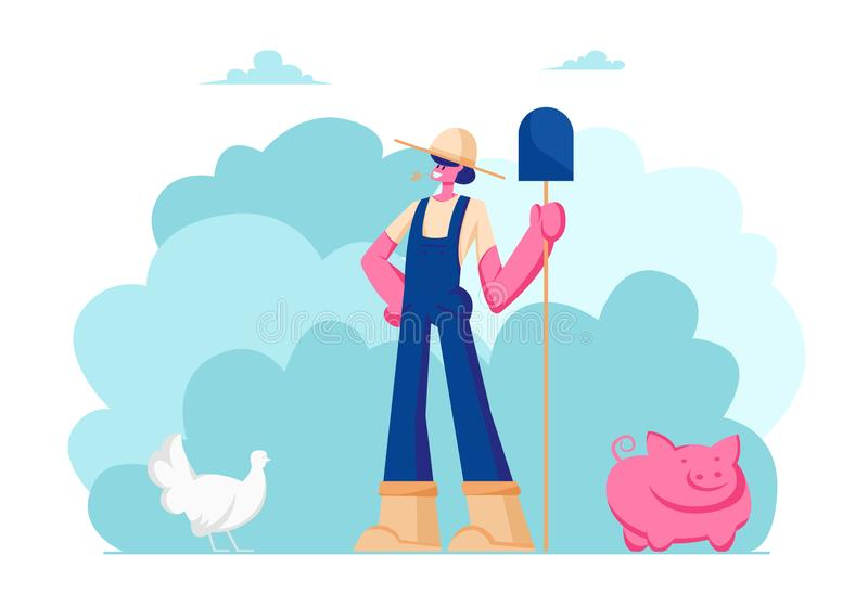 Muchacha de granja en pala de trabajo de la tenencia del uniforme y del sombrero a disposición Cría de animales, avicultura, prod ilustración del vector