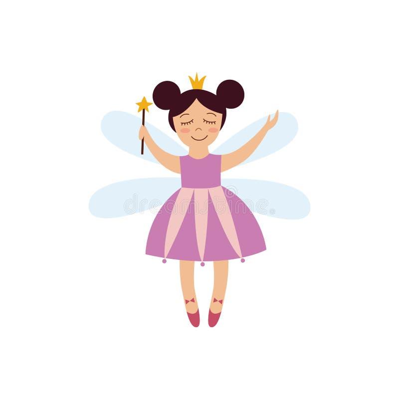 Muchacha de hadas de la fantasía linda en vestido rosado con la corona y el vuelo mágico de la vara con las alas de la libélula ilustración del vector