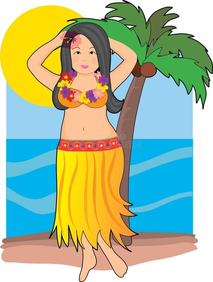 Muchacha de Hula hawaiana ilustración del vector