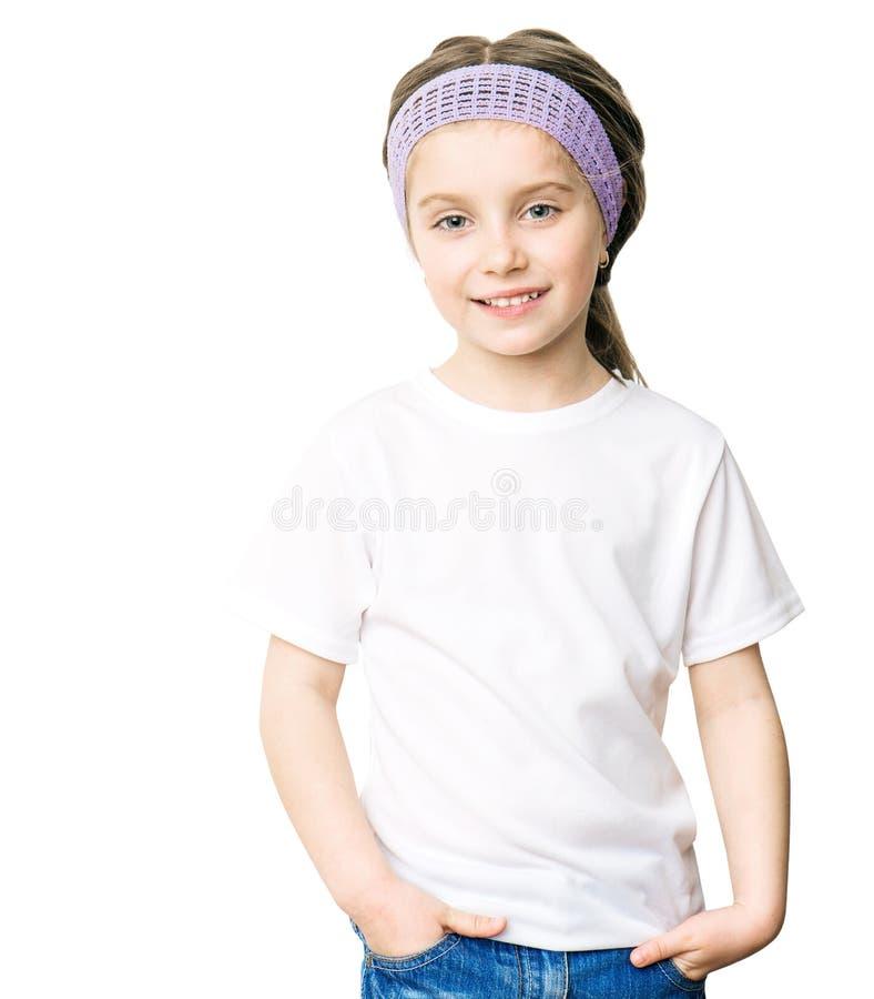 Muchacha de Ittle en la camiseta blanca fotos de archivo libres de regalías