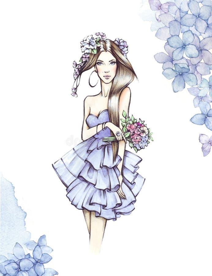 Muchacha de la acuarela Ejemplo de la moda, pintado a mano fotografía de archivo libre de regalías