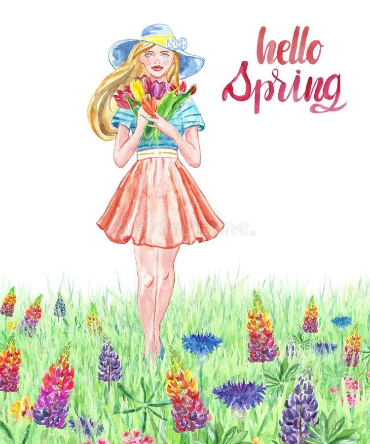 Muchacha de la acuarela en vestido y sombrero bonitos que camina en un prado floral con la hierba Mujeres jovenes con el ramo flo stock de ilustración