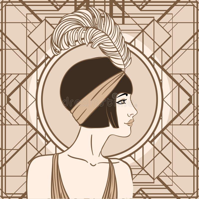 Muchacha de la aleta: Diseño retro de la invitación del partido ilustración del vector